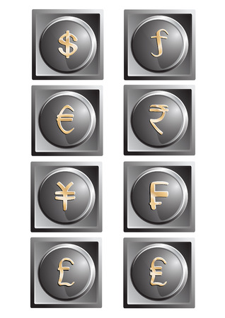 Gray metal buttons with gold monetary symbols