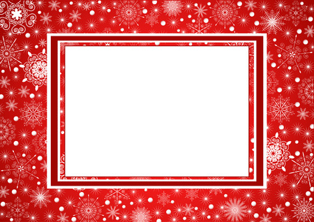 Beautiful cristmas frame with snowflakes on background Illustration