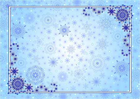 Beautiful Сristmas frame with snowflakes on background Illustration