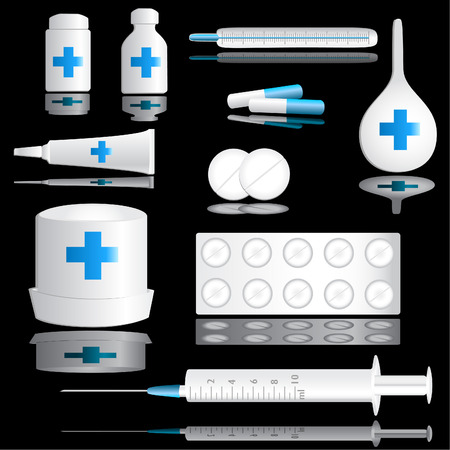 Medical icon set on a black background with reflection Vector