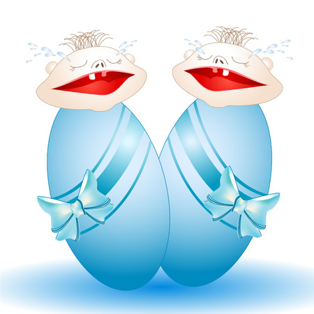 Charming crying twins-babies who have been wrapped up in diapers Stock Vector - 8254110