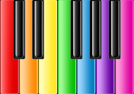 The keyboard of the classical piano with rainbow keys Illustration