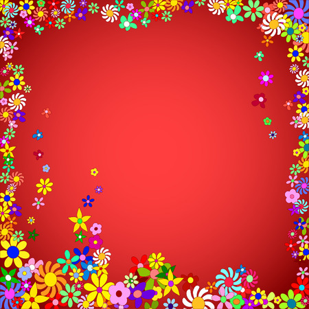Frame of Colorful Flowers on a Red Background