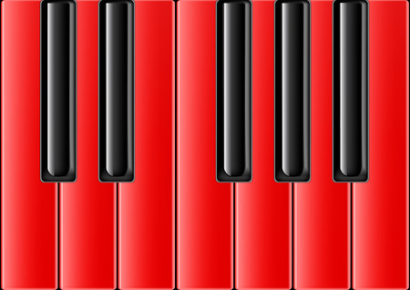 The keyboard of the classical piano with red keys Stock Vector - 8254129