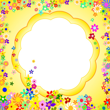 Yellow Frame of Colorful Flowers on a White Background