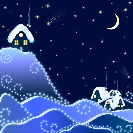 Winter Christmas Landscape of Night Village Vector