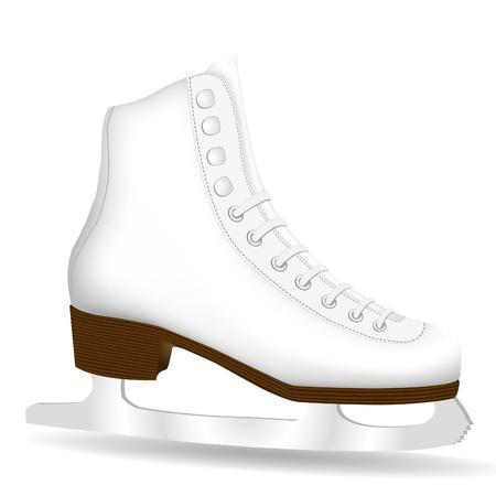 patinaje sobre hielo: Skate blanco aislado en un fondo blanco Vectores