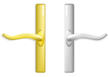 Isolated gold and silver handles on a white background Illustration
