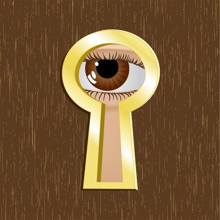zichtbaarheid: Deur sleutelgat van gouden metaal met oog Stock Illustratie
