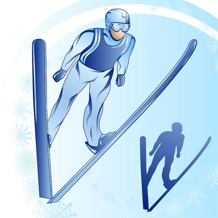 Stylized illustration of jamped skier on a blue background