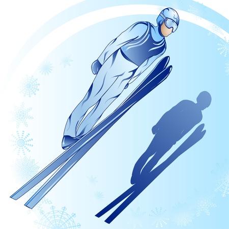 springboard: Ilustración estilizada de esquiador jamped sobre un fondo azul