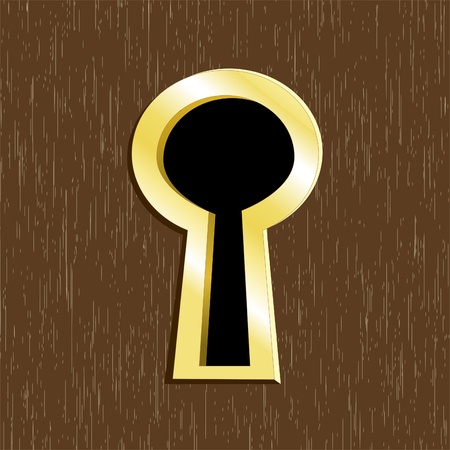 Door keyhole of golden metal on dark wooden door Vector
