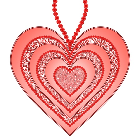 heart outline: Beautiful pendant as pattern heart isolated on a white background