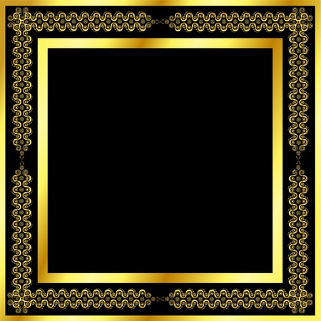 Gold pattern frame with waves and stars Stock Vector - 10767676