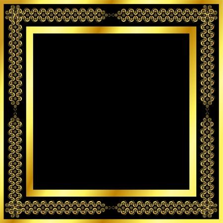 carve: Marco de oro patr�n de las ondas y estrellas Vectores