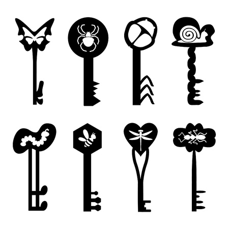 Many silhouettes of keys with the image of insects