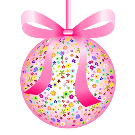 Pink Ball of Colorful Flowers with a Bow photo