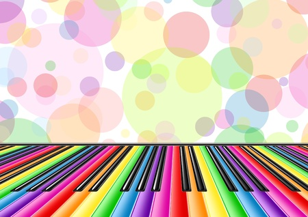 Música de fondo con un teclado de piano y burbujas Ilustración de vector