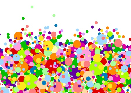 Horizontal white background with many multicoloured balls