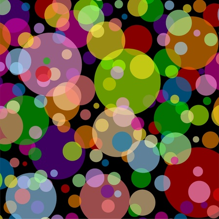 Black square background with multicoloured balls and dots Illustration