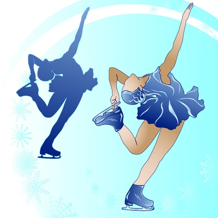 Stylized illustration of woman figure skating on a blue background Vector
