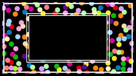 Frame of many colourful balls on a black background