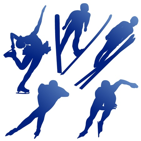 Silhuettes of athletes of winter sports on a white background Vector
