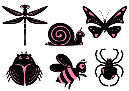 Funny stylized insects