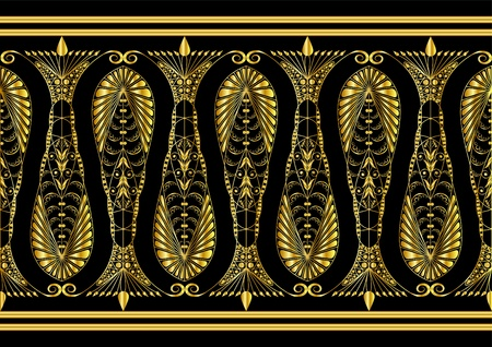 Admirable Gold Pattern on a Black Background Stock Vector - 10896602