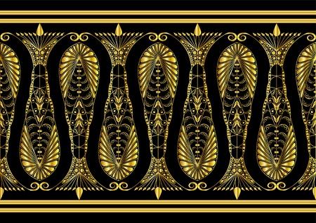 motive: Bewundernswert Goldmuster auf einem schwarzen Hintergrund Illustration