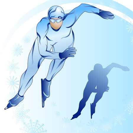 figure skater: Stylized illustration of skater and his shilouette on a blue background Illustration