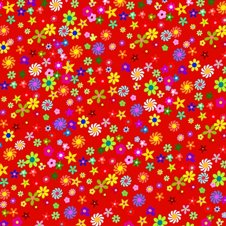 Pattern of colorful flowers on a red background