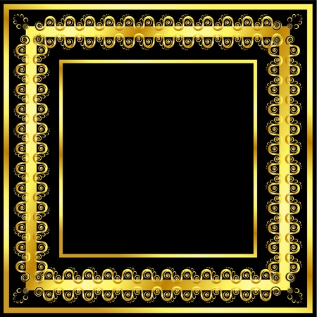 jeweller: Gold pattern frame with waves and stars