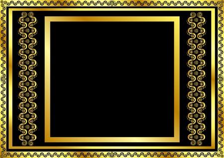 ornate gold frame: Marco de oro patr�n de las ondas y estrellas Vectores