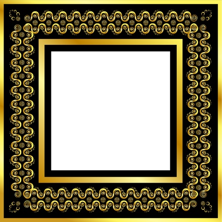 Gold pattern frame with waves and stars Vector