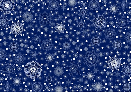 Many white stars and snowflakes on a deep blue background