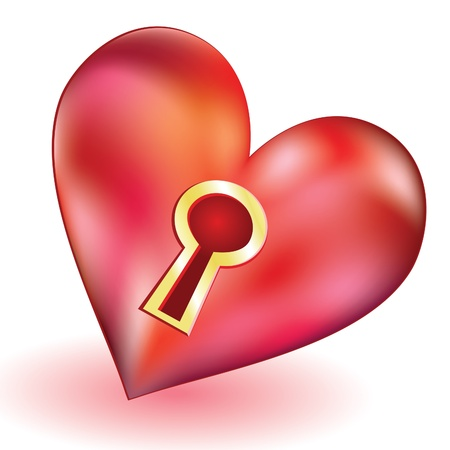 gold keyhole: Brilliant volume red heart with a keyhole in the center Illustration
