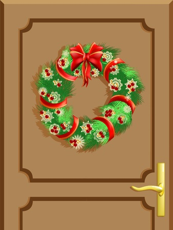 Entrance door and a Christmas decoration Vector
