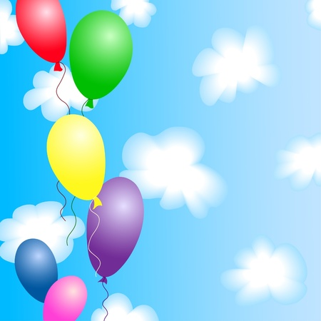 Colourful balloons in the blue sky with clouds