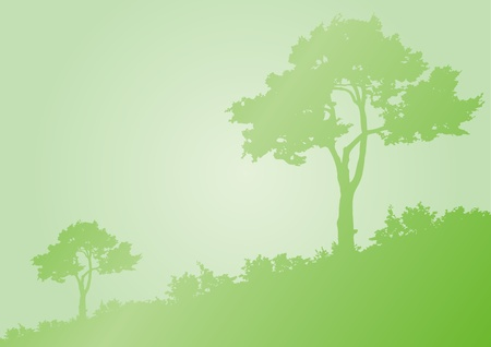 Horizontal green background with silhouette of trees