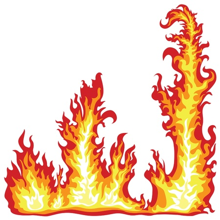 Frame of the fire flame on a white background