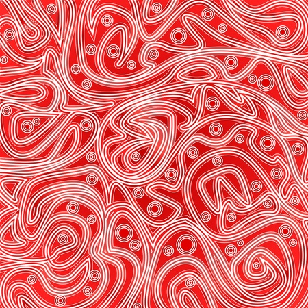 Pattern of tangled lines and rounds on a red background Illustration