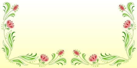 Horizontal frame of floral motive on a beige background Vector