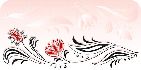 tendrils: Frame of floral motive on a pink background Illustration
