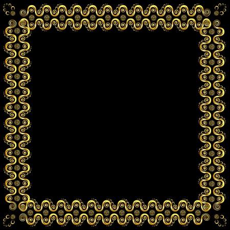 admirable: Gold pattern frame with waves and stars