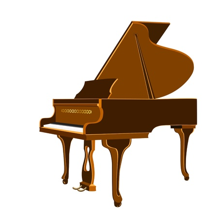 pianoforte: Vector illustration of isolated grand piano on a white background