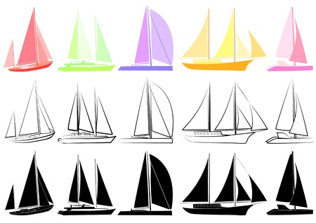 yachting: Vector illustration of multicoloured and black silhouettes of yachts