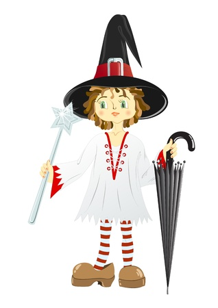 Little witch in black hat with an umbrella and a wand Vector