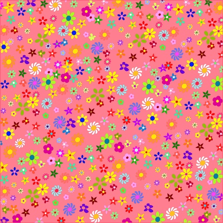 Colorful Flowers on a Pink Background Vector