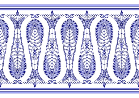 gzhel: Admirable blue pattern on a white background Illustration